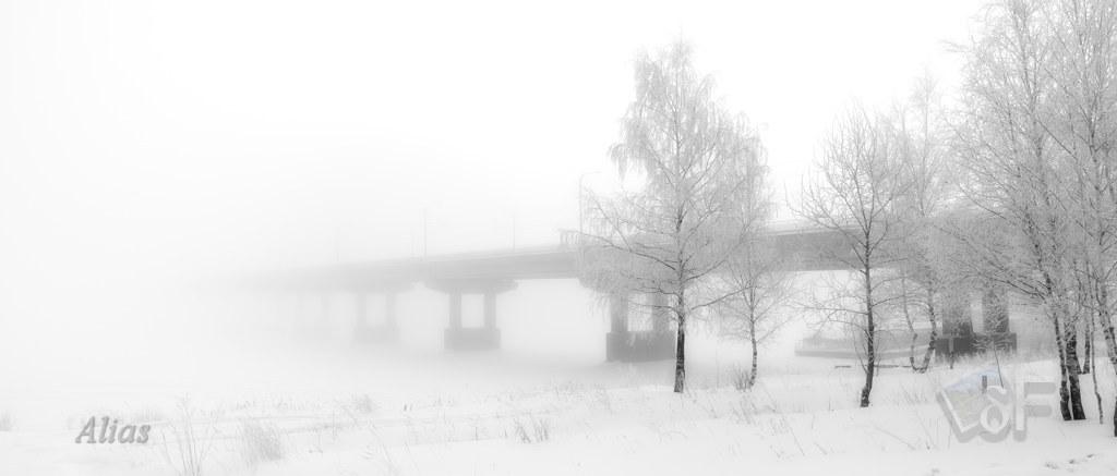 Мост через Волгу в мороз
