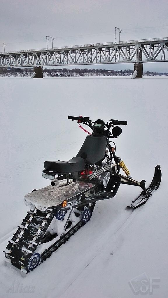 Полевые испытания детского снегохода после переделки